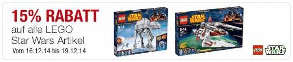 Galeria Lego 15% auf LEGO Star Wars Artikel bei Galeria Kaufhof + 10% Gutschein   Update!