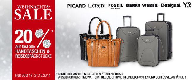 Galeria Taschen 20% Rabatt auf Handtaschen und Reisekoffer bei Galeria Kaufhof + 10% Gutschein