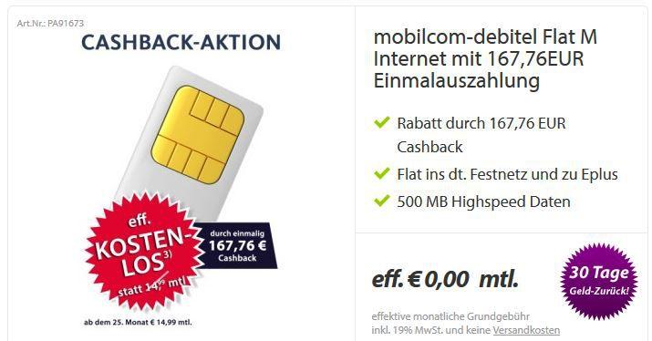 kleiner Kostnix Vertrag dank Cashback mit ePlus und Festnetzflat