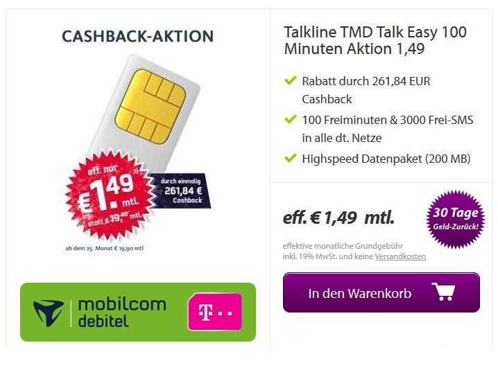 Getmobile Telekom Talkline Talk Easy 100 Vertrag   dank Auszahlung nur 1,49€ monatl. Kosten   Update