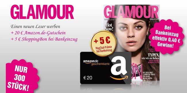 Glamour 12 Ausgaben Glamour effektiv mit 0,40€ Gewinn dank Gutschein