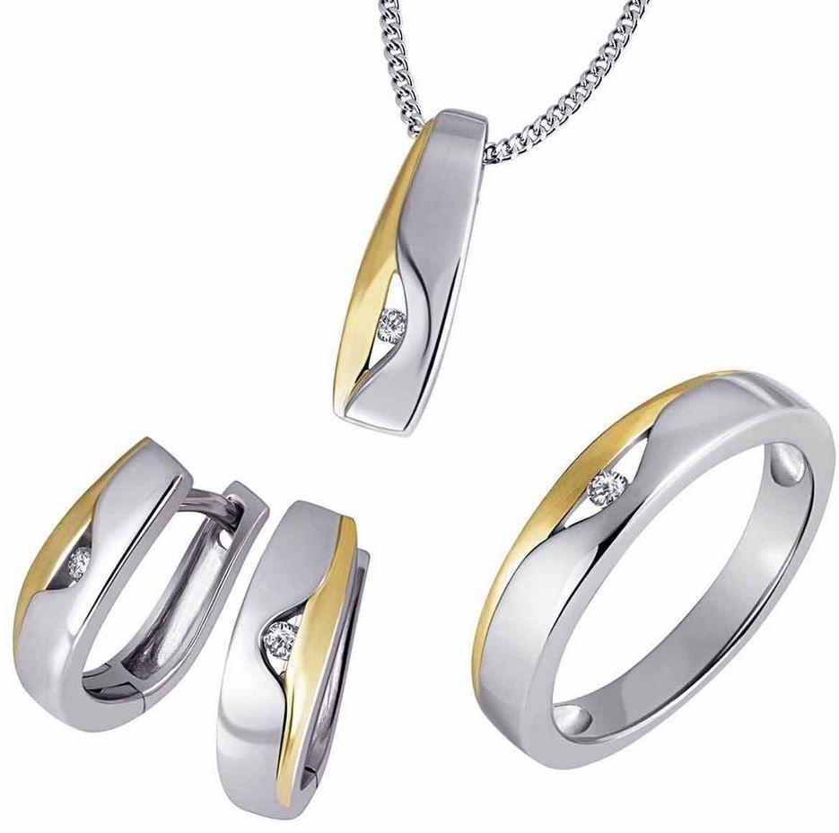 Goldmaid Damenring, Kette oder Creolen 925 Sterlingsilber vergoldet Brillanten für je 49,99€
