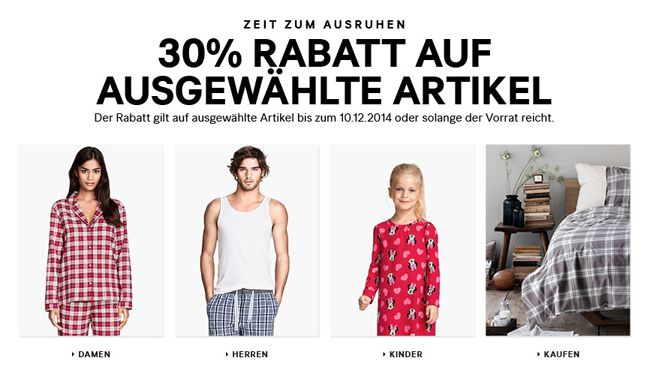 HM Rabatt 30% Rabatt auf ausgewählte Artikel bei H&M + kostenloser Versand   Update