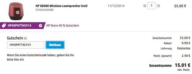 HP Gutschein1 HP S6000 Wireless Lautsprecher mit bis zu 8 Stunden Laufzeit für 15€