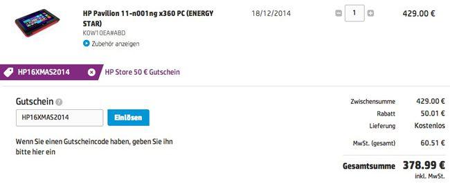 HP Gutscheincode HP Pavilion 11 x360 Convertible PC mit HP DataPass für 379€