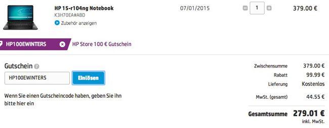 HP 15 r104ng   15 Zoll Einsteiger Notebook (1,7GHz, 4GB Ram, 750GB) für 279€