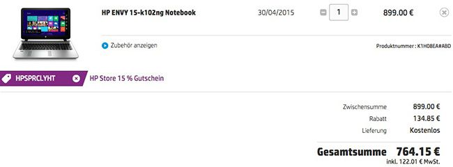 HP Envy 15 k102ng – 15 Zoll Full HD Notebook (i7, 256GB SSD, 12GB Ram, GeForce GTX 850M) für 764,15€