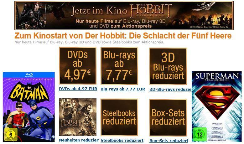 DVDs ab 4,97€ + Blu rays ab 7,77€ nur heute bei der Amazon Hobbit Aktion   Update!