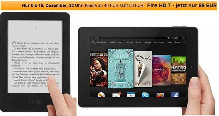 Kindle Kindle Fire HD jetzt ab 99€ und Kindle Touch ab 49€