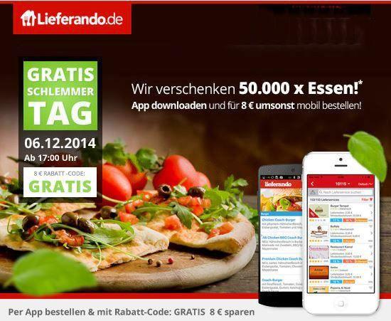 Lieferando1 Gratis Schlemmer Tag bei Lieferando: App downloaden und für 8€ gratis essen (ab 17 Uhr, nur für die ersten 50.000 Bestellungen)