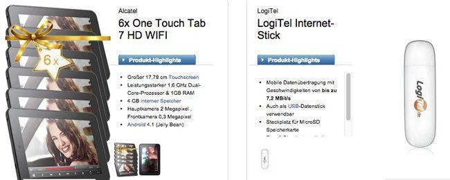 Logitel Bundle 6x Alcatel One Touch Tab 7 HD WIFI + Surfstick und E Plus Mein BASE Internet 11 Tarif für 11,04€ monatlich