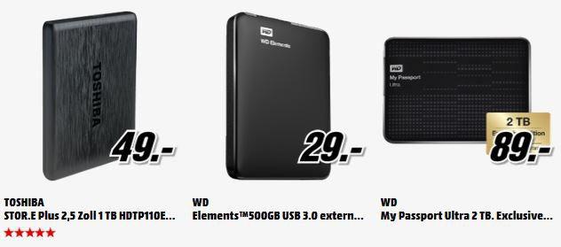 MM Bundle1 WD Elements Portable 500GB für 29€ oder 2TB für 89€   und mehr MediaMarkt Angebote