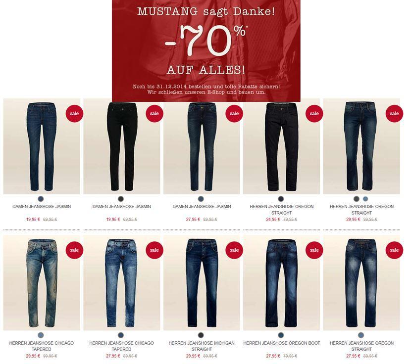 Mustang2 Hammer! Mustang   großer Ausverkauf mit bis zu 70% Rabatt. z.B. Jeans ab 19,95€!