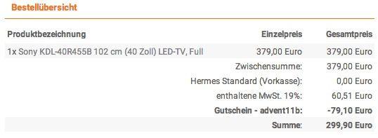 Sony KDL 40R455B   40 Zoll Full HD LED Fernseher mit Triple Tuner für 299,90€