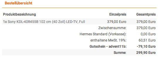 NBB Kasse Sony KDL 40R455B   40 Zoll Full HD LED Fernseher mit Triple Tuner für 299,90€