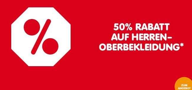 NKD 50% Rabatt auf Herren  und Kinder Oberbekleidung bei NKD + 5€ Gutschein