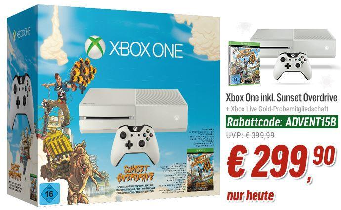 Xbox one + Game Sunset Overdrive + style Controller für nur 299,90€