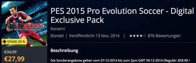 PES 2015 für die PS4 ab 27,99€ im PSN als Download
