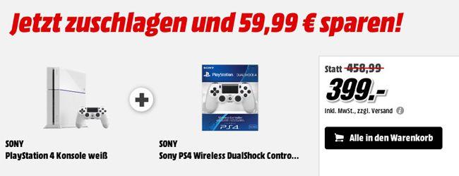 PlayStation 4 Konsole weiß + 2. Controller ab 399€