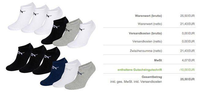 Puma Sneaker Socken Puma 15er Pack Unisex Sneaker oder Quarter Clyde Socken für je 25,50€