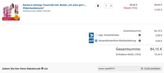 Real Warenkorb Barbie 3 stöckige Traumvilla + Barbie Ich wäre gern Plätzchenbäckerin statt 190€ ab 84,15€