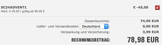SC24 Warenkorb 45€ Rabatt ab 90€ Bestellwert bei SC24   auch auf reduzierte Ware!
