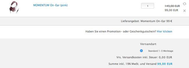 Sennheiser Momentum Kasse Sennheiser Momentum On Ear Kopfhörer in Pink, Grün oder Rot für 99€