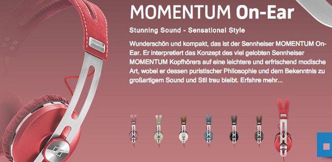 Sennheiser Momentum Sennheiser Momentum On Ear Kopfhörer in Pink, Grün oder Rot für 99€