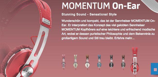 Sennheiser Momentum On Ear Kopfhörer in Pink, Grün oder Rot für 99€