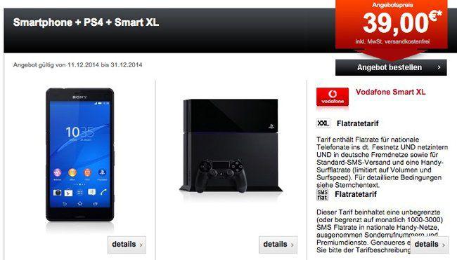 Smart XL PS4 Sony Xperia Z3 Compact + Playstation 4 + Vodafone Smart XL Tarif für 40,63€ monatlich