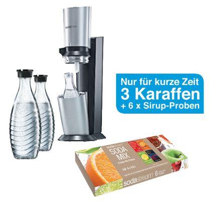 Sodastream Crystal Sodastream Crystal Megapack   Trinkwassersprudler + 60L Zylinder + 3 Karaffen + 6 Sirup Proben für 94,90€