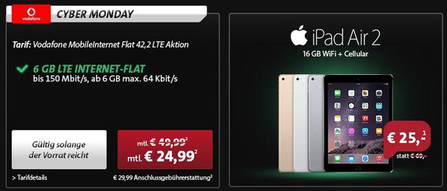 Vodafone MobileInternet Flat 42.2 (6GB, max. 225 Mbit/s, LTE) + iPad Air 2 oder mini 3 mit 25€ Zuzahlung für 26,03€ monatlich