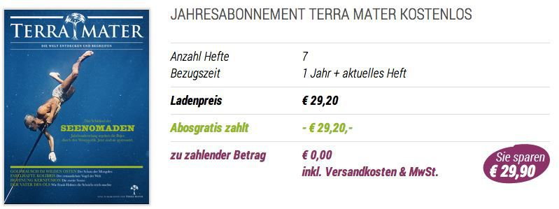 Terra mater Kostenlos: Terra Mater Jahresabo mit automatischer Kündigung