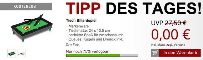 Tisch Billardspiel + weitere Gratis Artikel mit 5,97€ Versand