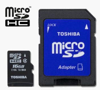 Toshiba 16GB SDHC Speicherkarte Class 4 + Adapter für 2,99€