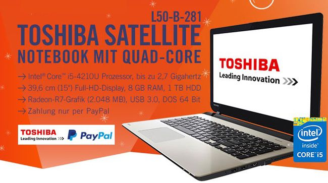 Toshiba Satellite L50 B 281 Toshiba Satellite L50 B 281   15 Zoll Full HD Notebook ohne Windows für 499€