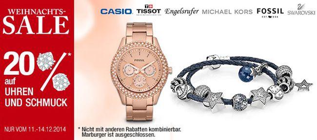 20% Rabatt auf Schmuck & Uhren bei Galeria Kaufhof + 10% Gutschein