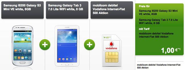 Vodafone Internet Flat 500 Samsung Galaxy S3 mini + Galaxy Tab 3 7.0 + Vodafone Internet Flat 500 für 4,99€ monatlich