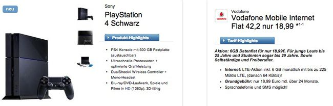 Playstation 4 + Vodafone Mobile Internet Flat 42,2 (LTE, max. 225 Mbit/s, 6GB) ab 19,03€ monatlich