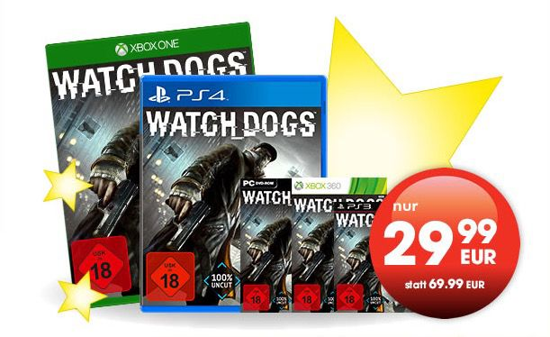Watch Dogs  Watch Dogs für PS4, Xbox One, PS3, Xbox360 und PC für 29,99€ in den Gamestop Filialen