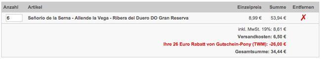 6 Flaschen 15 Jahre alten Ribera del Duero DO Gran Reserva für 34,44€