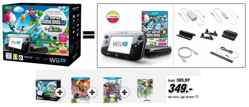Wii U Mario Pack Wii U Prem. mit Mario + Luigi +Hyrule Warriors + Super Smash Bros. + amiibo Super Smash Bros. Collection ab 349€