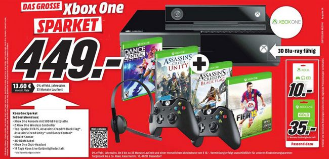 Xbox One mit Kinect Sensor, 2. Controller, Assassin's Creed Unity + Black Flag und Fifa 15 für 449€