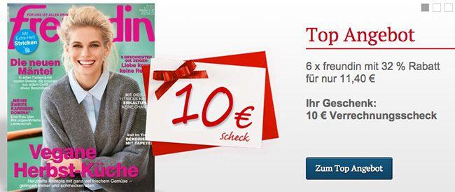 6 Ausgaben der freundin für effektiv 1,70€ dank 10€ Bargeldprämie