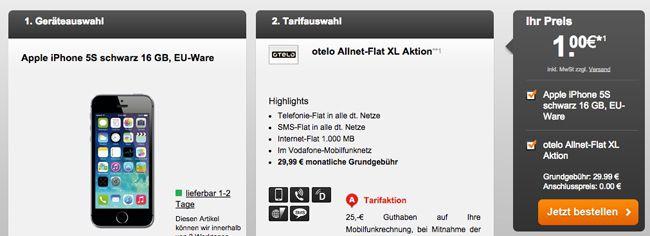 otelo Allnet Flat XL (1GB, Allnet Flat und SMS Flat) + iPhone 5S 16GB ab 30,03€ monatlich