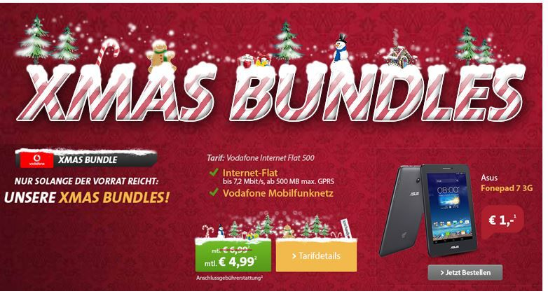 xmas Bundle  Asus Fonepad 7   3G Android Tablet mit 500MB Vodafone Datenflat für 4,99€ monatl.   Update
