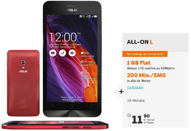 ASUS ZenFone 5 Android Smartphone +  Simyo ALL ON L Vertrag für monatl. 11,90€