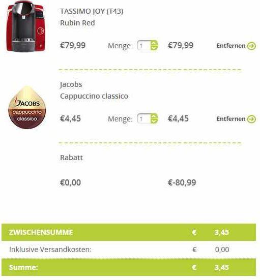 Bestellübersicht Preisfehler? Bosch TASSIMO JOY   Kapselmaschine für 3,45€
