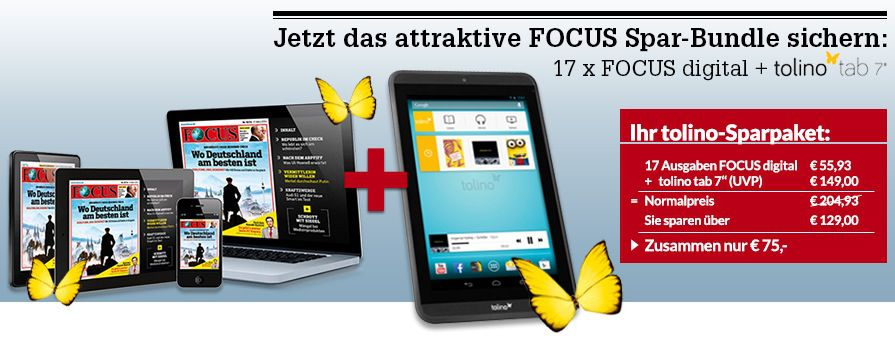 Tolino Tab 7 Zoll und 17 Ausgaben FOCUS digital nur 75€ (statt 131€)