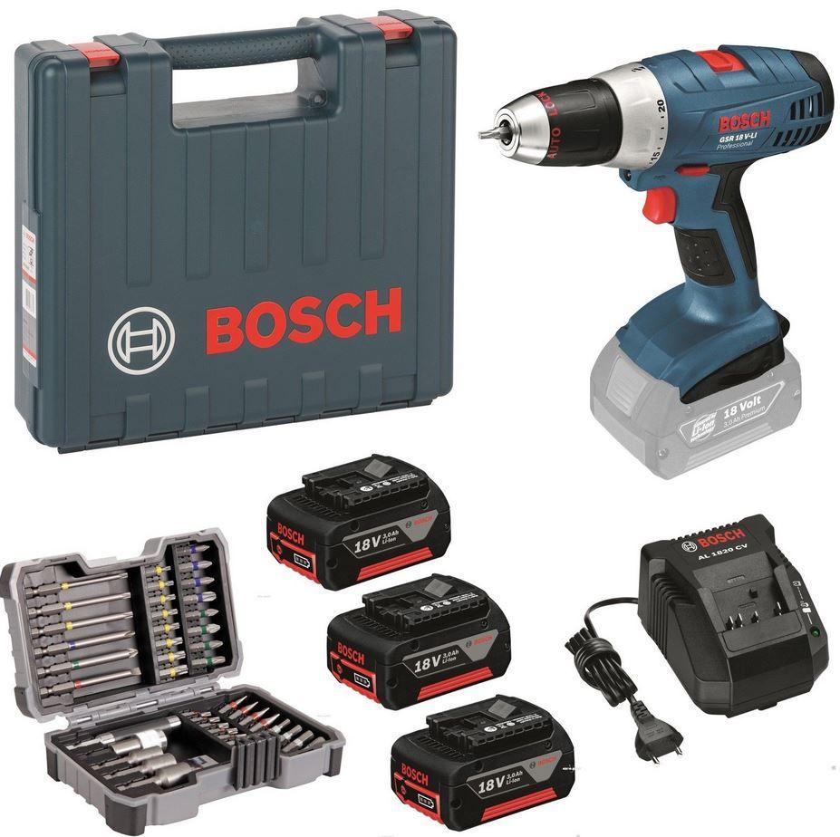 Bosch GSR 18V LI Professional   Akkubohrschrauber inkl. 3 x 3 Ah, 18V Li Akkus + Zubehör für 199,90€